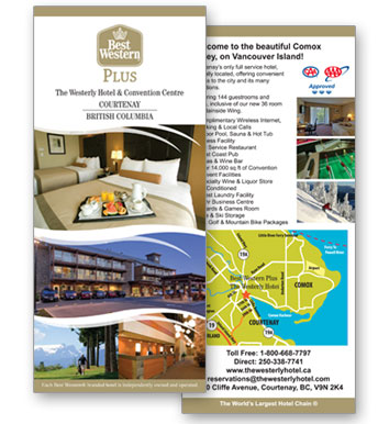Best western Westerly hotel Rack card design image