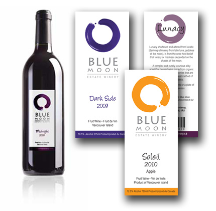 Blue Moon Winery, wine label and packaging design examples