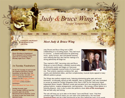 Website design for Judy and Bruce Wing